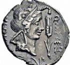 Photo numismatique  ARCHIVES VENTE 2016-19 oct RÉPUBLIQUE ROMAINE Q. Metellus Scipio et Eppius (vers 47-46)  163- Denier, Afrique.