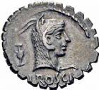 Photo numismatique  ARCHIVES VENTE 2016-19 oct RÉPUBLIQUE ROMAINE L. Roscius Fabatus (vers 64)  185- Denier serratus.