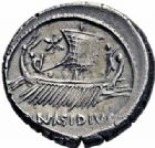 Photo numismatique  ARCHIVES VENTE 2016-19 oct RÉPUBLIQUE ROMAINE POMPÉE LE JEUNE (97-35)  204- Denier, Sicile, (44-43).