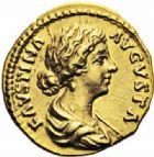Photo numismatique  ARCHIVES VENTE 2016-19 oct EMPIRE ROMAIN FAUSTINE jeune (épouse de Marc Aurèle)  254- Aureus, Rome, (161-176).