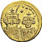 Photo numismatique  ARCHIVES VENTE 2016-19 oct EMPIRE BYZANTIN CONSTANS II, CONSTANTIN IV, HERACLIUS et TIBERE (659-668)  304- Solidus, Constantinople, (659-668).