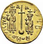Photo numismatique  ARCHIVES VENTE 2016-19 oct EMPIRE BYZANTIN CONSTANS II, CONSTANTIN IV, HERACLIUS et TIBERE (659-668)  304- Solidus, Constantinople, (659-668).