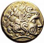 Photo numismatique  ARCHIVES VENTE 2016-19 oct GAULE - CELTES CALETI (Pays de Caux)  338- Hémistatère inspiré des types nord-armoricains, (IIème siècle avant J.C.).