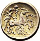 Photo numismatique  ARCHIVES VENTE 2016-19 oct IBERIE- GAULE - CELTES CALETI (Pays de Caux)  338- Hémistatère inspiré des types nord-armoricains, (IIème siècle avant J.C.).