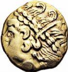 Photo numismatique  ARCHIVES VENTE 2016-19 oct IBERIE- GAULE - CELTES AMBIANI (Bassin de la Somme)  346- Quart de Statère fourré, (IIème siècle avant J.C.).