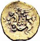 Photo numismatique  ARCHIVES VENTE 2016-19 oct GAULE - CELTES AMBIANI (Bassin de la Somme)  346- Quart de Statère fourré, (IIème siècle avant J.C.).