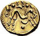 Photo numismatique  ARCHIVES VENTE 2016-19 oct GAULE - CELTES AMBIANI (Bassin de la Somme)  349- Statère d'or uniface, (e 60 à 30/25 avant J.C.).