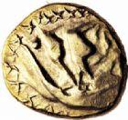 Photo numismatique  ARCHIVES VENTE 2016-19 oct IBERIE- GAULE - CELTES AMBIANI (Bassin de la Somme)  350- Quart de statère d'or à l'arbre et à la ligne brisée.