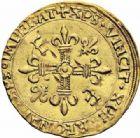 Photo numismatique  ARCHIVES VENTE 2016-19 oct ROYALES FRANCAISES FRANCOIS I (1er janvier 1515–31 mars 1547)  392- Ecu d'or au soleil, 5ème type, 3ème émission (21 juillet 1519), Rouen.