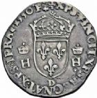 Photo numismatique  ARCHIVES VENTE 2016-19 oct ROYALES FRANCAISES HENRI II (31 mars 1547-10 juillet 1559)  398- Teston, 1er type (31 janvier 1549), Lyon 1550.