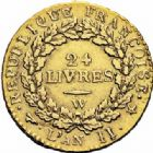 Photo numismatique  ARCHIVES VENTE 2016-19 oct MODERNES FRANÇAISES LA CONVENTION (22 septembre 1792 - 26 octobre 1795)  498- Louis d'or de 24 livres, Lille 1793 an II.