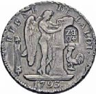 Photo numismatique  ARCHIVES VENTE 2016-19 oct MODERNES FRANÇAISES LA CONVENTION (22 septembre 1792 - 26 octobre 1795)  501- Ecu de six livres, Paris 1793, contremarqué en 40 batzen, Berne (vers 1816-1819).
