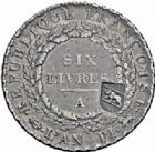 Photo numismatique  ARCHIVES VENTE 2016-19 oct MODERNES FRANÇAISES LA CONVENTION (22 septembre 1792 - 26 octobre 1795)  501- Ecu de six livres, Paris 1793, contremarqué en 40 batzen, Berne (vers 1816-1819).