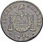 Photo numismatique  ARCHIVES VENTE 2016-19 oct MODERNES FRANÇAISES LA CONVENTION (22 septembre 1792 - 26 octobre 1795)  502- 2 sols à la balance, La Rochelle 1793, an II.