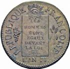 Photo numismatique  ARCHIVES VENTE 2016-19 oct MODERNES FRANÇAISES LA CONVENTION (22 septembre 1792 - 26 octobre 1795)  503- 1 Sol, Metz, 1793, an II.