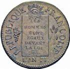 Photo numismatique  ARCHIVES VENTE 2016-19 oct MODERNES FRANÇAISES LA CONVENTION (22 septembre 1792 - 26 octobre 1795)  503- 1 Sol, Metz, 1793, an II.
