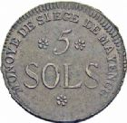 Photo numismatique  ARCHIVES VENTE 2016-19 oct MODERNES FRANÇAISES LA CONVENTION (22 septembre 1792 - 26 octobre 1795) Siège de MAYENCE. (31 mars au 23 juillet 1793) 507- 5 Sol 1793 an 2.