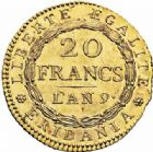 Photo numismatique  ARCHIVES VENTE 2016-19 oct MODERNES FRANÇAISES REPUBLIQUE SUBALPINE (1800-1802)  508- 20 francs or dite « Marengo », Turin an 9.