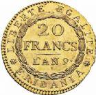 Photo numismatique  ARCHIVES VENTE 2016-19 oct MODERNES FRANÇAISES REPUBLIQUE SUBALPINE (1800-1802)  508- 20 francs or dite « Marengo », Turin an 9.