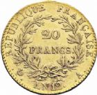 Photo numismatique  ARCHIVES VENTE 2016-19 oct MODERNES FRANÇAISES LE CONSULAT (à partir du 24 décembre 1799-18 mai 1804)  509- 20 francs or, Paris an 12.