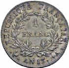Photo numismatique  ARCHIVES VENTE 2016-19 oct MODERNES FRANÇAISES NAPOLEON Ier, empereur (18 mai 1804- 6 avril 1814)  518- 1 franc, Paris an 13.
