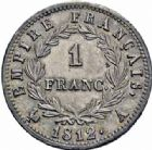 Photo numismatique  ARCHIVES VENTE 2016-19 oct MODERNES FRANÇAISES NAPOLEON Ier, empereur (18 mai 1804- 6 avril 1814)  520- 1 franc, Paris 1812.