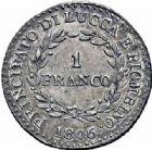 Photo numismatique  ARCHIVES VENTE 2016-19 oct MODERNES FRANÇAISES ELISA BONAPARTE et FELICE BACIOCCHI, principauté de Lucques et Piombino (1805-1814)  524- 1 franco, 1806.