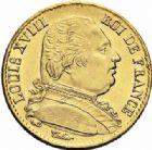 Photo numismatique  ARCHIVES VENTE 2016-19 oct MODERNES FRANÇAISES LOUIS XVIII, 1ère restauration (3 mai 1814-20 mars 1815)  527- 20 francs or, Paris 1814.