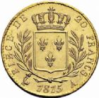 Photo numismatique  ARCHIVES VENTE 2016-19 oct MODERNES FRANÇAISES LOUIS XVIII, 1ère restauration (3 mai 1814-20 mars 1815)  528- 20 francs or, Paris 1815.