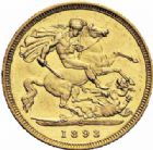 Photo numismatique  ARCHIVES VENTE 2016-19 oct MONNAIES DU MONDE AUSTRALIE VICTORIA (1837-1901) 562- Half Sovereign, 1893 Melbourne.