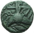 Photo numismatique  MONNAIES GAULE - CELTES BELLOVAQUES (région de Beauvais)  Bronze au personnage courant.