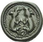 Photo numismatique  MONNAIES IBERIE- GAULE - CELTES SUESSIONES (région de Soissons)  Potin aux chèvres affrontées.