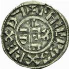 Photo numismatique  MONNAIES ROYALES FRANCAISES PHILIPPE Ier (4 août 1060-29 juillet 1108)  Denier du 4ème type, Orléans.