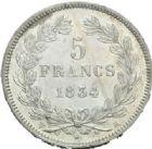 Photo numismatique  MONNAIES MODERNES FRANÇAISES LOUIS-PHILIPPE Ier (9 août 1830-24 février 1848)  5 francs, La Rochelle, 1834.