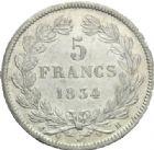 Photo numismatique  MONNAIES MODERNES FRANÇAISES LOUIS-PHILIPPE Ier (9 août 1830-24 février 1848)  5 francs, Toulouse, 1834.