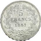 Photo numismatique  MONNAIES MODERNES FRANÇAISES LOUIS-PHILIPPE Ier (9 août 1830-24 février 1848)  5 francs, Paris, 1837.