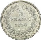 Photo numismatique  MONNAIES MODERNES FRANÇAISES LOUIS-PHILIPPE Ier (9 août 1830-24 février 1848)  5 francs, Rouen, 1838.