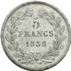 Photo numismatique  MONNAIES MODERNES FRANÇAISES LOUIS-PHILIPPE Ier (9 août 1830-24 février 1848)  5 francs, Lille, 1838.