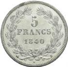Photo numismatique  MONNAIES MODERNES FRANÇAISES LOUIS-PHILIPPE Ier (9 août 1830-24 février 1848)  5 francs, Rouen 1840.