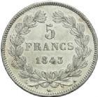 Photo numismatique  MONNAIES MODERNES FRANÇAISES LOUIS-PHILIPPE Ier (9 août 1830-24 février 1848)  5 francs, Paris, 1843.