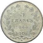 Photo numismatique  MONNAIES MODERNES FRANÇAISES LOUIS-PHILIPPE Ier (9 août 1830-24 février 1848)  5 francs, Paris, 1844.