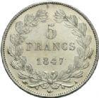 Photo numismatique  MONNAIES MODERNES FRANÇAISES LOUIS-PHILIPPE Ier (9 août 1830-24 février 1848)  5 francs, Paris, 1847.