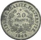 Photo numismatique  MONNAIES MODERNES FRANÇAISES 2e REPUBLIQUE (24 février 1848-2 décembre 1852)  Essai de 20 francs, 1848.