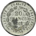 Photo numismatique  MONNAIES MODERNES FRANÇAISES 2ème RÉPUBLIQUE (24 février 1848-2 décembre 1852)  Essai de 20 francs, 1848.
