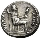Photo numismatique  ARCHIVES VENTE 2017-7 juin - Coll Fr. Beau EMPIRE ROMAIN TIBÈRE. (14-37)  265 Denier, Lyon, (juillet 30 après J.C.).