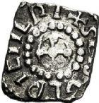 Photo numismatique  ARCHIVES VENTE 2017-7 juin - Coll Fr. Beau PEUPLES BARBARES MEROVINGIENS CITES BOURGES (Cher) 313 Denier de forme rectangulaire, monastère de Saint-Sulpice.