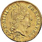 Photo numismatique  ARCHIVES VENTE 2017-7 juin - Coll Fr. Beau ROYALES FRANCAISES LOUIS XIV (14 mai 1643-1er septembre 1715)  329 1/2 louis d'or au soleil, Toulouse 1712.