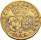 Photo numismatique  ARCHIVES VENTE 2017-7 juin - Coll Fr. Beau ROYALES FRANCAISES LOUIS XV (1er septembre 1715-10 mai 1774)  332 Demi-louis d'or aux lunettes, Reims, 1726.
