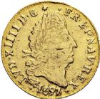 Photo numismatique  VENTE 7 juin 2017 - Coll Fr. Beau et divers ATELIER DE CAEN LOUIS XIV (14 mai 1643-1er septembre 1715)  343 1/2 louis d'or aux quatre L, 1697/6 C.