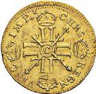 Photo numismatique  ARCHIVES VENTE 2017-7 juin - Coll Fr. Beau ATELIER DE CAEN LOUIS XIV (14 mai 1643-1er septembre 1715)  345 Louis d'or aux huit L et insignes, 1702 sur 1 C.